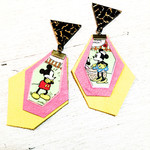 Pink and yellow leather earrings with Mickey and Minnie comic feature