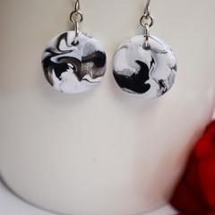 Black and White Round Earrings Monochrome Minimalist Design Blackwood Lily