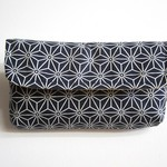 Clutch bag- navy geometric with yellow and white fabric