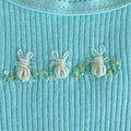 Baby singlets, hand embroidered rabbits