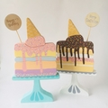 Hand painted Cake on Stand with ice cream and cake topper.