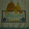 Babies Embroidered Towelling Bibs-Ducks-9P-9B Welcome