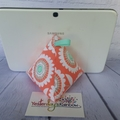 Technology Pillow: Flowers on Coral. Mint Green & Soft Grey tones