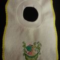 Babies Embroidered Towelling Bibs-Pea-Baby Girl1,3