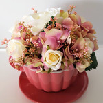 Table Flowers - Ceramic Teacup & Saucer with Pink Hydrangea, Roses, Berries