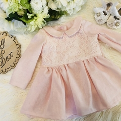 Baby girl girls linen and lace dress long sleeve collar