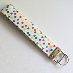 Confetti Polka Dot Fabric Keychain, Key Fob Wristlet, Key Fob Keychain.