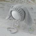 Vintage Grey Hand Crocheted Newborn Easter Bunny Baby Bonnet Photo Prop