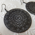 Cathedral Web Matt Black Filligree Earrings