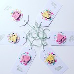 Happy Easter SET OF 6 tags twine gift wooden chicken chook pink yellow