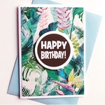 Tropical rainforest plant green happy birthday for her card