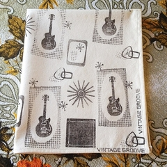 Hand printed Tea Towel Guitars Atomic Les Paul Vintage Guitar