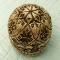 Fair Isle Beanie, Hand Spun Coloured Fleece, No Dyes