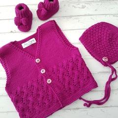 Little Vest - Hand Knitted - Size 0 - 100% Australian Merino Wool