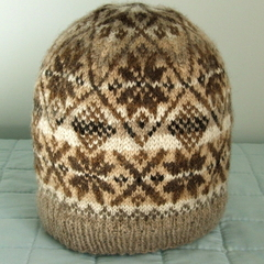 Natural Wool Fair Isle Beanie, Hand Spun Coloured Fleece, No Dyes