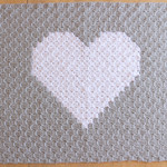 Crochet Heart Baby Blanket in Grey and White. Super soft and warm for your baby.