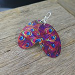 PINK PEACOCK, DYE SUBLIMATION EARRINGS