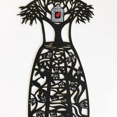 """""""Shelter Me"""" woodcut"""
