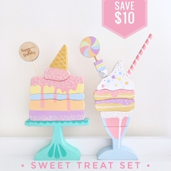 Hand painted Wooden Sweet Treat Set. (Cake + Milkshake)