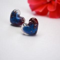 Resin Heart Earrings Blue Studs Geranium Petals& Bling BlackwoodLily