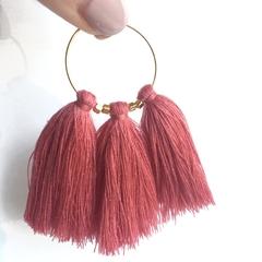 Triple tassel gold hoops - blush