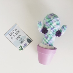 Crochet Cactus 'Unicorn Candy' with Purple Flowers in Pastel Purple Pot