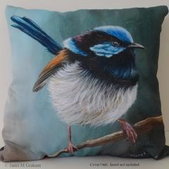 Cushion Cover, Superb Fairy Wren,  Bird, Wildlife, Throw Pillow,  Gift idea