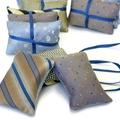Trio of cedar sachets in blue tones. Recycled from vintage silk ties