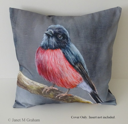 Cushion Cover, Pink Robin,  Bird, Wildlife, Throw Pillow,  Gift idea