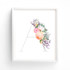 ANY LETTER, Printable Tea Garden Floral Watercolour Letter