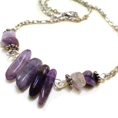 Amethyst Necklace, Gemstone Necklace, Statement Necklace, Crystal Necklace