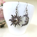 Mismatched Silver Sun and Moon Earrings