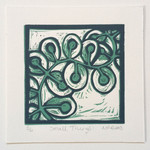 Original Linocut Small Things Abstract Floral