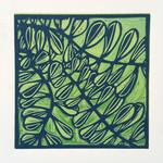 Linocut Leaves on Green Original Handpulled Print