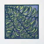 "Lino Print ""Leaves on Purple"""