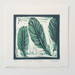 Original Linocut Small Things Feathers