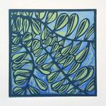 Linocut Leaves on Blue Original Handpulled Print