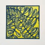 Linocut Leaves on Yellow Original Handpulled Print