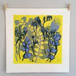 Original Handpulled Reduction Linocut Print Pressed Flowers Yellow Blue Floral