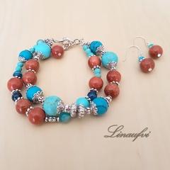 SALE 40% Jewellery -2 Strands Bracelet,Earring - Gemstones- Blue,Brown -JS053