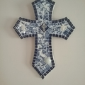 Mosaic Cross - Blue and White