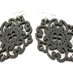Lightweight Black Modern Boho Diamond Wooden Filigree Drop Earrings for Women