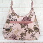 Aviary Floral Handbag, Crossbody Hobo Bag, Fabric Vegan Bag