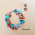 Jewellery Sets - 2 Strands Bracelet - Earring - Gemstones - Blue - Brown - JS053
