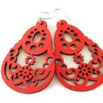 Large Lightweight Red Pear Shape Lazer Cut Wooden Modern Boho Earrings
