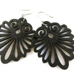 Modern Boho Large Lightweight Decorative Black Wooden Fan Earrings