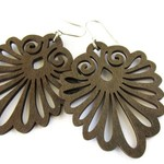 Large Lightweight  Dark Brown Wooden Decorative Fan Modern Boho Earrings