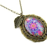 Colourful Floral Vintage Boho Style Oval Glass Dome Pendant Necklace on Brass