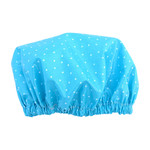Aqua Polka Dot Luxury Shower Cap Adult Size Handmade laminated Cotton