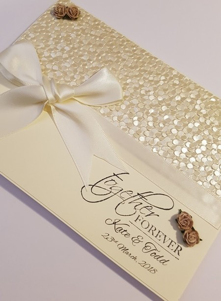 Vintage Cream Wedding Card with Pebble Paper & Large Bow - Personalised